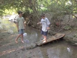 Two boys in a creek