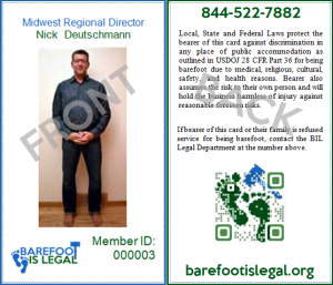 Very Important Barefooter Membership ID example